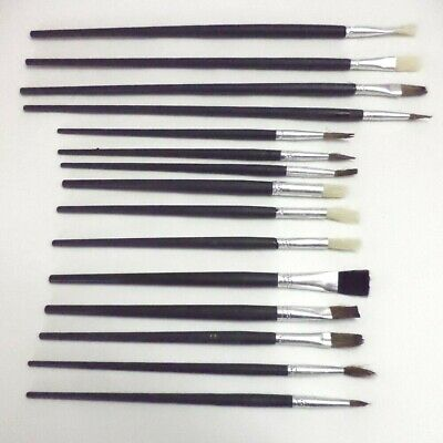12Pc Artists Paint Brush Set Fine Sizes Hobbies Crafts Model Making Brushes Kit