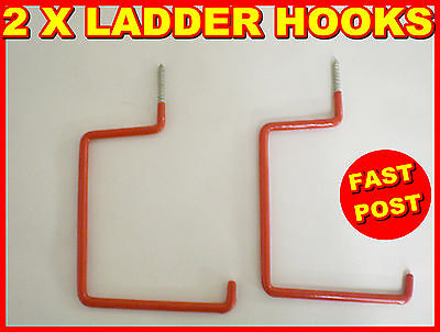 2 X Ladders Hooks Workshop Tool Storage Garden Shed Garage Ceiling Wall Double