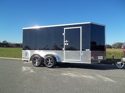7x14 enclosed double motorcycle trailer black ATP sport motorcycle package NEW