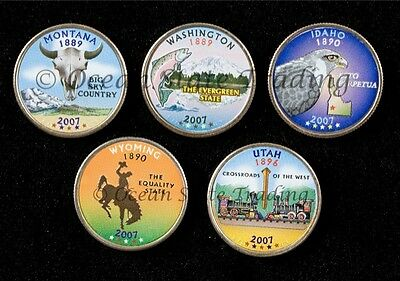 2007 Complete Set Of Colorized State Quarters - D Mint (5 Coins)