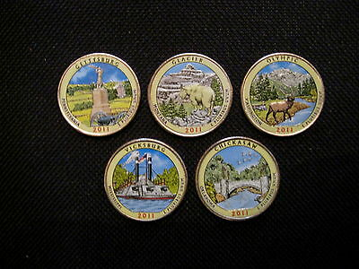 2011 Complete Set Of Colorized Set Of National Park Quarters - P Mint (5 Coins)