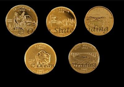 2005 Complete Set Of24 kt Gold Plated Quarters - P Mint (5 Coins)