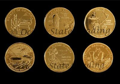 2009 Complete Set Of 24 kt Gold Plated Quarters - P Mint (6 Coins)