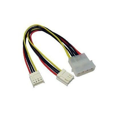 "5.25"" 4 Pin Molex To 2 x 3.5"" Floppy Drive FDD Power Splitter Adaptor Cable"