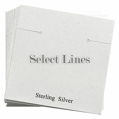 200 Silver White Earring Jewelry Cards 2.5 x 2.5""