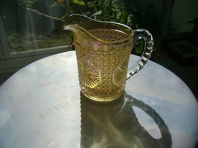 Imperial Glass Star Medallion #671 Amelia Pattern Milk Pitcher in Ruby Gold