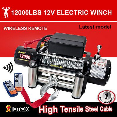 12V 12000LBS/5454KGS Wireless Steel Wire Cable Electric Winch 4WD ATV BOAT TRUCK