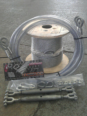 Zip Line / Zip Wire Rope Kit. 8mm x 50meter Length with Cable Slings & fasteners