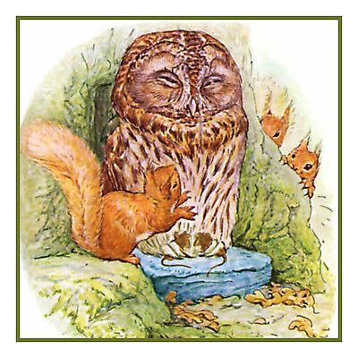 Beatrix Potter Squirrel Nutkin and Owl Counted Cross Stitch Pattern