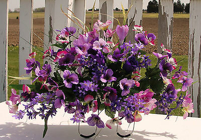 Purple Pansies Vary Cemetery Flowers Tombstone Saddle Mothers Day Grave Memorial