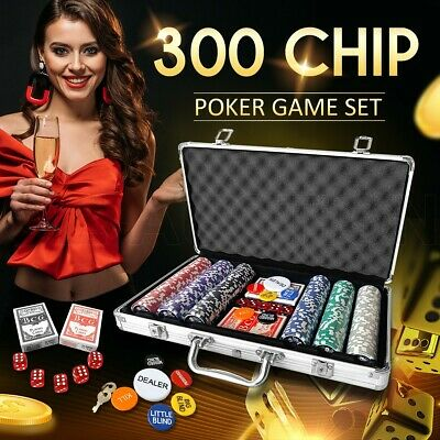 1000 Chip Poker Game Play Set Casino Size Chips Dice Gamble Aluminium Carry Case