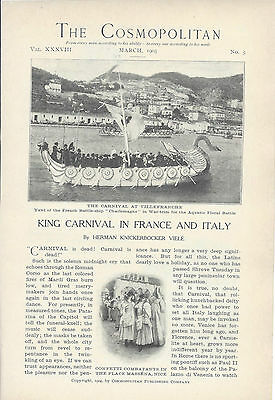 1905  Carnival Festival in France Italy Villefranche Nice vintage article