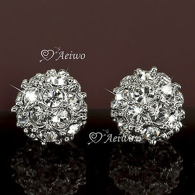 Earrings Stud 9K Gf White Gold Clear Made With Swarovski Crystal Ball Classic