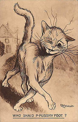 Louis Wain. Who Shaid P-Pusshy Foot? by Valentine's. Sepia.