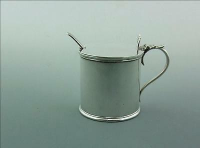 Large English Silver Drum Mustard , Liner And Spoon
