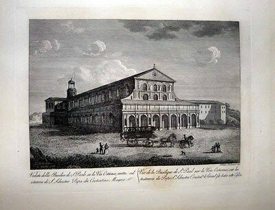 1816 Palmucci Engraving BASILICA OF ST. PAUL OUTSIDE THE WALLS Rome Architecture