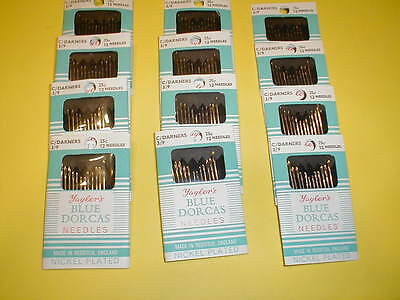 12 Pkgs of 12 Cotton Darners, Embroidery, Hemming, Hand Sewing Needles Size 3/9