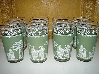 Vintage 8 Green Frosted Victorian Libbey? Glasses Cups