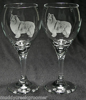Rough Collie Dog Laser Etched Teardrop Wine Glass Pair