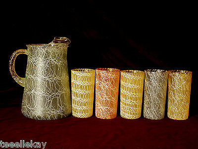 Mid-Century Mod Swanky Swigs Textured Pitcher & Glasses w  Squiggly White Lines