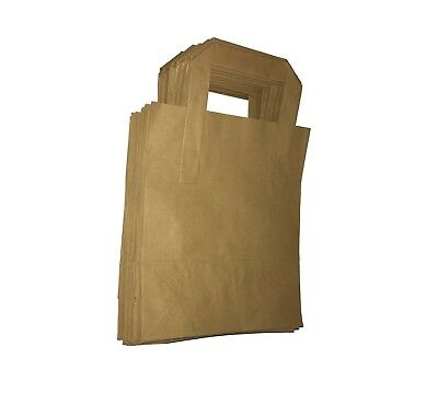 25 SMALL BROWN KRAFT CRAFT PAPER SOS TAKEAWAY CARRIER BAGS 18cm x 23cm x 9cm
