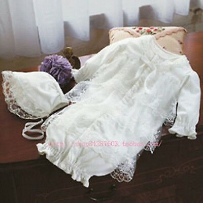 Baby Girl Christening Shower White Wedding Baptism Dress Romper Bonnet set Prop