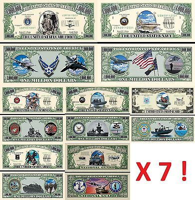 LOT x7 BILLETS DOLLAR - CORPS ARMEE AMERICAIN ! MARINES NAVY US ARMY AIR FORCES