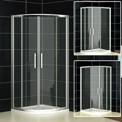 Shower Enclosure Walk In Quadrant Cubicle Glass Door Stone Tray Tempered Glass