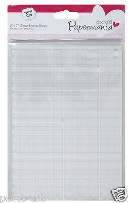 "Papermania clear acrylic stamp block 5 x 7"" with grid for mounting rubber stamps"
