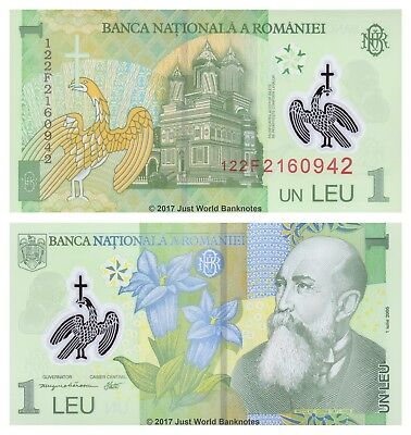 Romania 1 Leu 2005 (2012) Polymer P-117 Mint UNC Uncirculated Banknotes