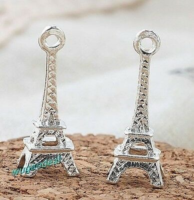 100 Pcs Silver Plated Charming 3D Paris Eiffel Tower Alloy Small Charm 22mm*4mm