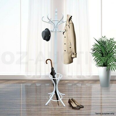 Tree Style 12 Hooks Coat Clothes Rack Wooden Umbrella Hanger Stand Base Ring WH