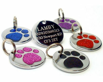 ENGRAVED Dog Pet ID Tags Glitter Paw Identity Name Disc Personalised Engraving