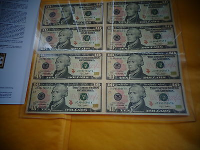 8 UNCUT SHEET- $10x 8 Legal US, 10 DOLLAR .Real Currency Note/Rare Money ,RARE