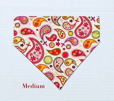 Paisley Purple Blue Green Brown Pink Over Collar Slide On Pet Dog Bandana Scarf