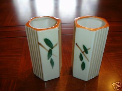 TWO VINTAGE POTTERY BUD VASES MADE IN JAPAN