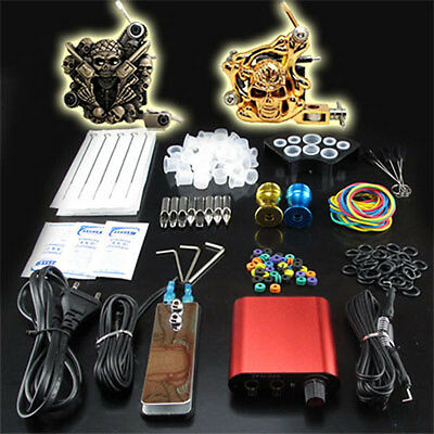 Tattoo Kits 2 Pro Machine Guns Set Power Supply Foot Pedal Needles Grip Tip Ink