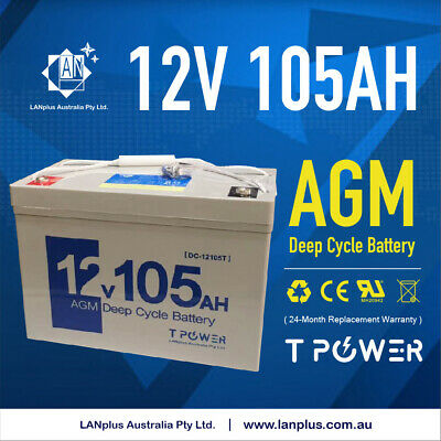 NEW 12V 105AH SLA AGM DEEP CYCLE BATTERY UPS Marine CARAVAN SOLAR > 90AH 100AH