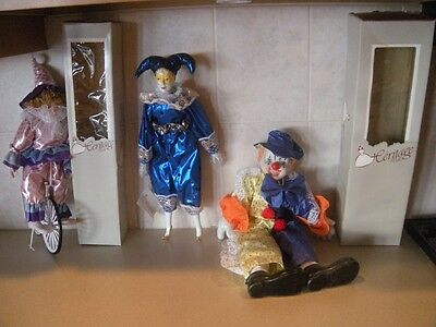 LOT OF 3 VINTAGE RETIRED HERITAGE DOLL CLOWNS ONE MONEY