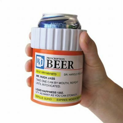 MEDICINE PILL BOTTLE CONTAINER - Beer & Soda can drink COOLER sleeve wrap holder