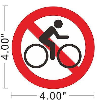 No Bicycle Riding Vinyl Sticker Warning Safety Sign Store Office Building ~A164