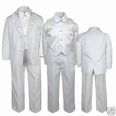 New Boy Baptism Communion Wedding Formal Paisley White Tuxedo Suit size 5-20