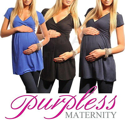 New MATERNITY TOP TUNIC Vneck Pregnancy Clothing Wear Size 8 10 12 14 16 18 5058