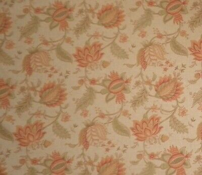 PRINTED LINEN RICHLOOM floral pomegranate rust green 8 yards new