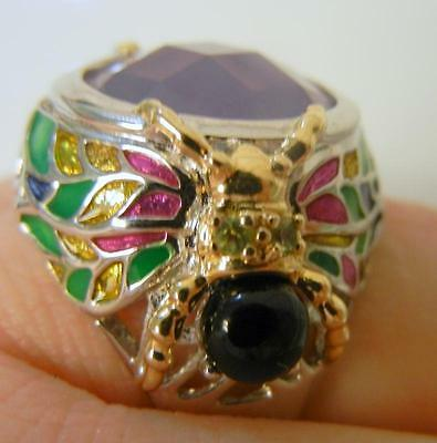 Vintage Chinese Lavender Grade A Jade Diamonds Enamel Bee Sterling Silver Ring