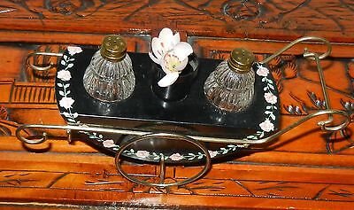 rare 3 pc set FLOWER CART GOLD TRIM GLASS SALT & PEPPER SHAKER JAPAN vintage