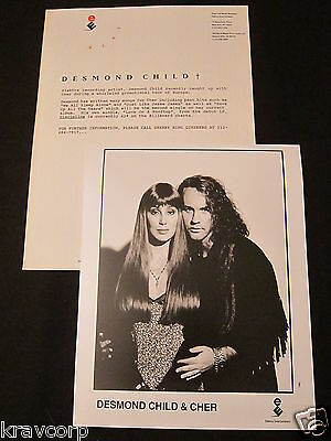 CHER/DESMOND CHILD—1991 PRESS RELEASE w/PHOTO