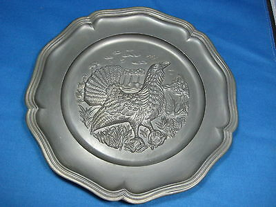 """9"""" Antique West Germany  Embossed Pewter Turkey Plate Engraved Mark with Hanger"""