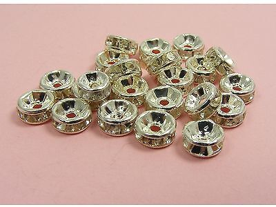 50 x CLEAR or MIXED Rhinestone RONDELLE Spacer Bead Cap Findings ~ 6mm or 8mm ~