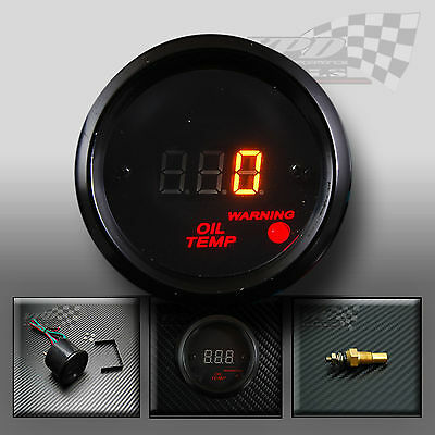 "Gauge  oil temp 52mm 2"" interior dash panel clock custom kit LED digital"